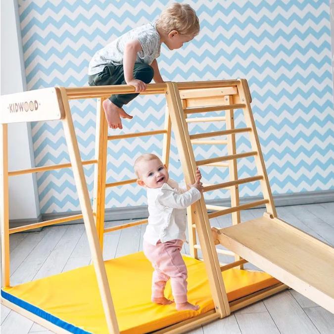 适合幼儿园的攀爬架|KIDWOOD室内木质攀爬架