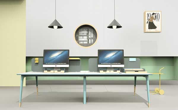 Lodic实木办公桌 - 4人位办公桌t图片_四人办公室桌子摆放图