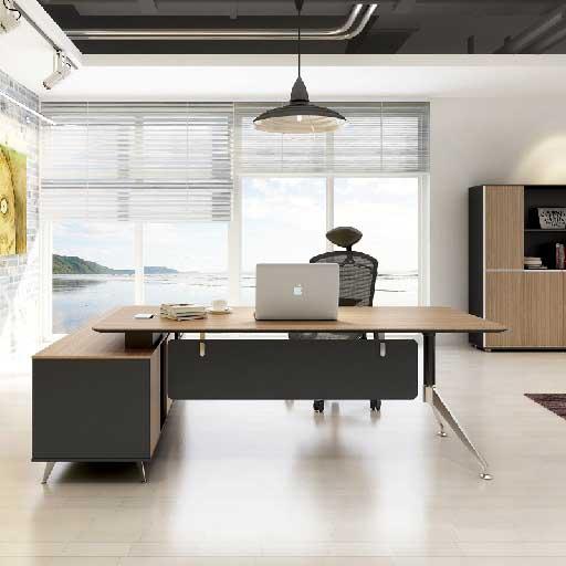 Gink办公桌 - 2200mm经理主管桌 颜色:新柚木 尺寸:2230*2000*750