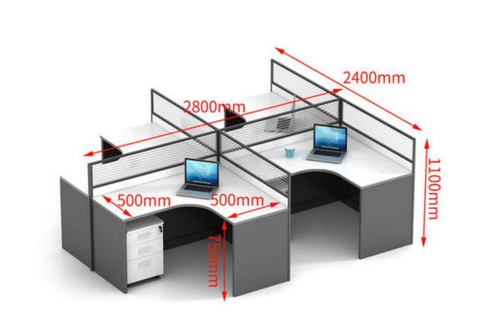 四人位办公桌常规尺寸是多少?办公室四人位